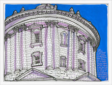 Load image into Gallery viewer, Dome bottom view drawing by Miguel Herranz. M Print without margin framed in white wood