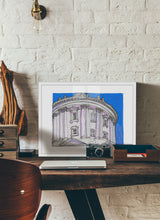 Load image into Gallery viewer, Dome bottom view drawing by Miguel Herranz.  Print with margin framed in white wood