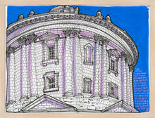 Load image into Gallery viewer, Dome bottom view drawing by Miguel Herranz. M Print without margin framed in natural wood