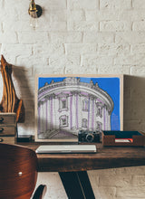 Load image into Gallery viewer, Dome bottom view drawing by Miguel Herranz.  Print without margin framed in natural wood