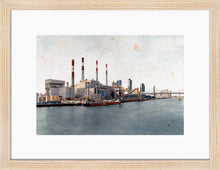 Load image into Gallery viewer, Ravenswood Generating Station by Carlos Arriaga. S Print with margin framed in natural wood