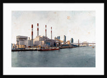 Load image into Gallery viewer, Ravenswood Generating Station by Carlos Arriaga. L Print with margin framed in black wood