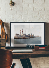 Load image into Gallery viewer, Ravenswood Generating Station by Carlos Arriaga.  Print with margin framed in black wood