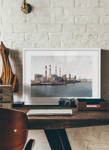 Load image into Gallery viewer, Ravenswood Generating Station by Carlos Arriaga.  Print with margin framed in white wood