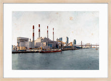 Load image into Gallery viewer, Ravenswood Generating Station by Carlos Arriaga. L Print with margin framed in natural wood
