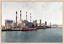 Load image into Gallery viewer, Ravenswood Generating Station by Carlos Arriaga. XL Print without margin framed in natural wood