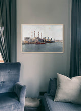 Load image into Gallery viewer, Ravenswood Generating Station by Carlos Arriaga.  Print without margin framed in natural wood
