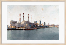 Load image into Gallery viewer, Ravenswood Generating Station by Carlos Arriaga. XL Print with margin framed in natural wood