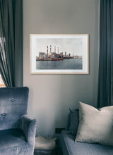 Load image into Gallery viewer, Ravenswood Generating Station by Carlos Arriaga.  Print with margin framed in natural wood