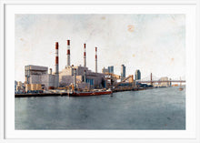 Load image into Gallery viewer, Ravenswood Generating Station by Carlos Arriaga. XXL Print with margin framed in white wood