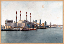 Load image into Gallery viewer, Ravenswood Generating Station by Carlos Arriaga. XXL Print on Dibond under Acrylic, framed in natural wood