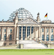 Load image into Gallery viewer, German parliament illustration by Jorge Arranz.  Main image