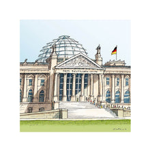 Load image into Gallery viewer, German parliament illustration by Jorge Arranz. S Print with margin