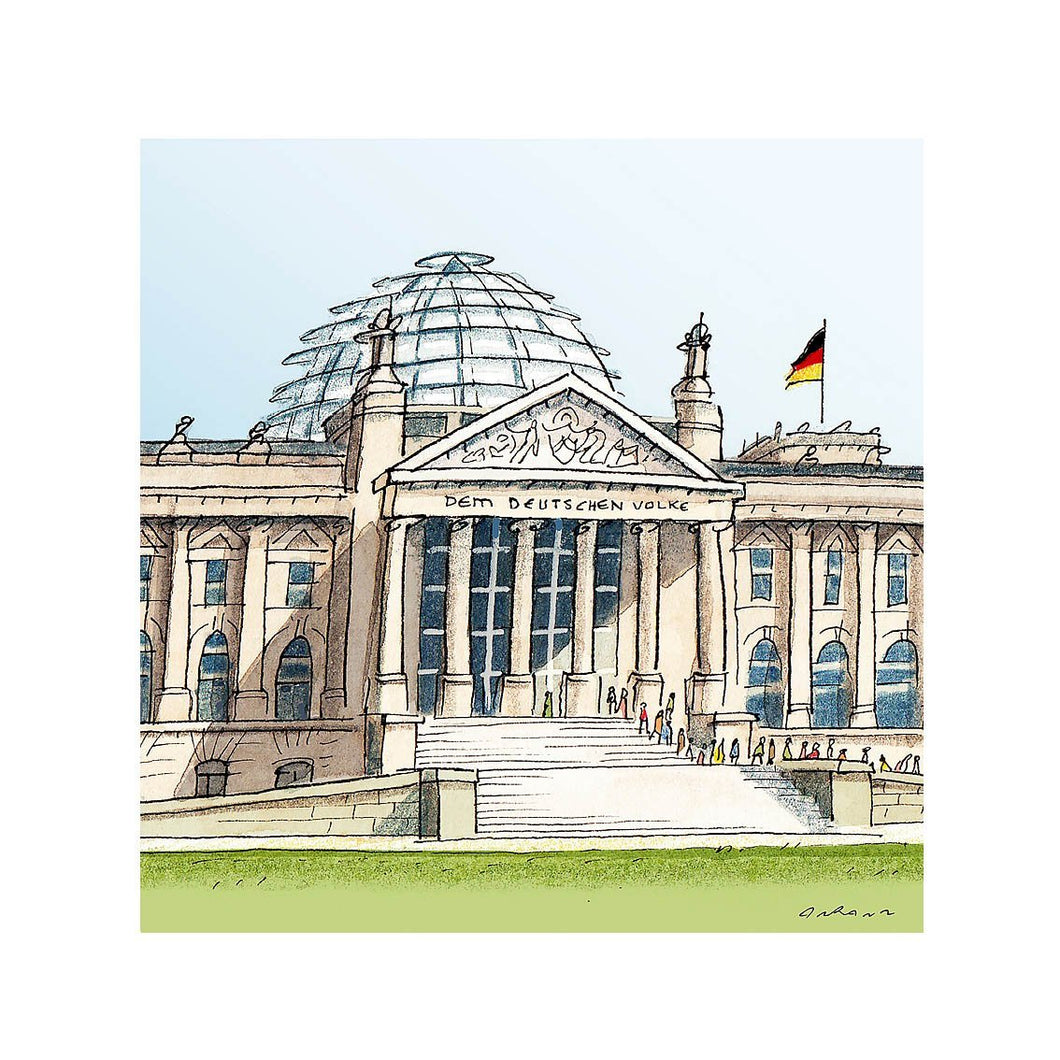 German parliament illustration by Jorge Arranz. S Print with margin