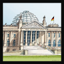 Load image into Gallery viewer, German parliament illustration by Jorge Arranz. S Print without margin framed in black wood