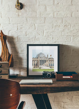 Load image into Gallery viewer, German parliament illustration by Jorge Arranz.  Print with margin framed in black wood