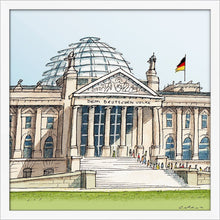 Load image into Gallery viewer, German parliament illustration by Jorge Arranz. S Print without margin framed in white wood