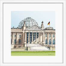 Load image into Gallery viewer, German parliament illustration by Jorge Arranz. S Print with margin framed in white wood