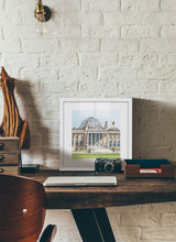Load image into Gallery viewer, German parliament illustration by Jorge Arranz.  Print with margin framed in white wood