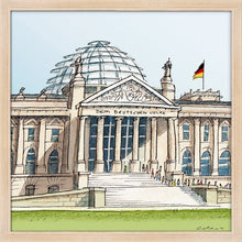 Load image into Gallery viewer, German parliament illustration by Jorge Arranz. S Print without margin framed in natural wood