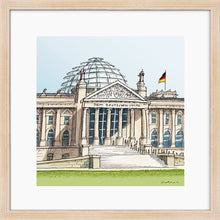 Load image into Gallery viewer, German parliament illustration by Jorge Arranz. S Print with margin framed in natural wood