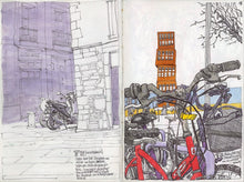 Load image into Gallery viewer, Bycicles and motorbikes in the streets drawing by Miguel Herranz.  Main image