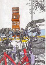 Load image into Gallery viewer, Bycicles and motorbikes in the streets drawing by Miguel Herranz.  Detail