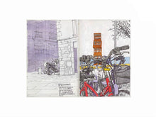 Load image into Gallery viewer, Bycicles and motorbikes in the streets drawing by Miguel Herranz. S Print with margin