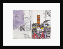 Load image into Gallery viewer, Bycicles and motorbikes in the streets drawing by Miguel Herranz. S Print with margin framed in black wood