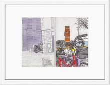 Load image into Gallery viewer, Bycicles and motorbikes in the streets drawing by Miguel Herranz. S Print with margin framed in white wood