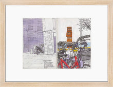 Load image into Gallery viewer, Bycicles and motorbikes in the streets drawing by Miguel Herranz. S Print with margin framed in natural wood