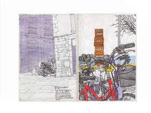Load image into Gallery viewer, Bycicles and motorbikes in the streets drawing by Miguel Herranz. M Print with margin