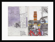 Load image into Gallery viewer, Bycicles and motorbikes in the streets drawing by Miguel Herranz. M Print with margin framed in black wood