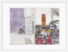 Load image into Gallery viewer, Bycicles and motorbikes in the streets drawing by Miguel Herranz. M Print with margin framed in white wood
