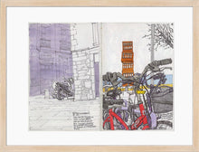 Load image into Gallery viewer, Bycicles and motorbikes in the streets drawing by Miguel Herranz. M Print with margin framed in natural wood