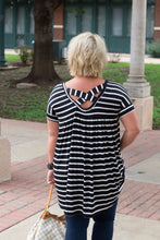 Load image into Gallery viewer, Jessie Stripe Hi-Low Cross Back Tunic