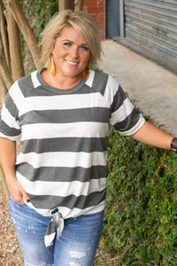 Lilly Stripe Tie Front Top
