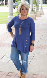 Emma 3/4 Sleeve Side Button Tunic