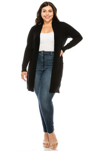 Vivian Long Open Cardigan-Curvy
