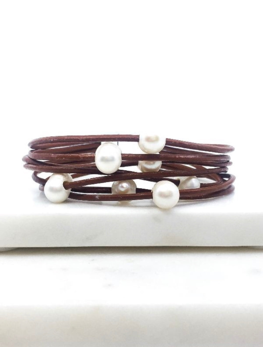 Lucy Fresh Water Pearl Leather Magnetic Bracelet