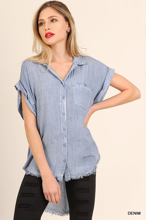 Jackie Distressed Wash Short Sleeve Top