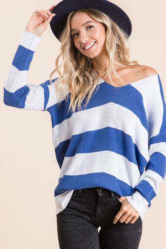Aria Striped V-Neck Sweater