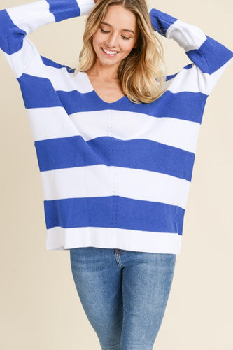 Aria V-Neck Striped Sweater-Curvy