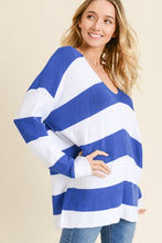 Load image into Gallery viewer, Aria V-Neck Striped Sweater-Curvy