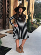 Load image into Gallery viewer, Hannah Striped Swing Dress with Elbow Patches