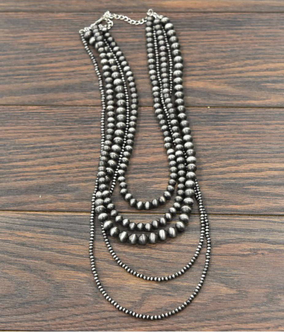 Faux Navajo Pearl 5-Strand Necklace