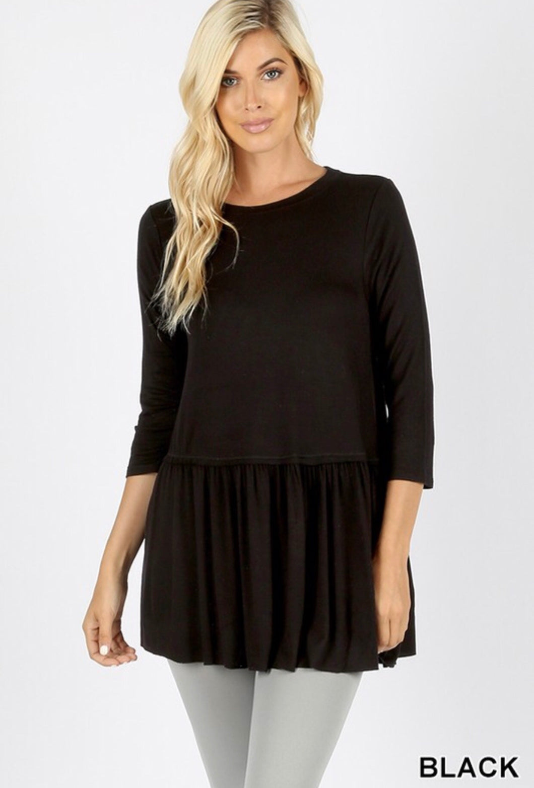 Carley Ruffle Bottom 3/4 Sleeve Top