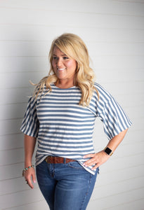 Becky Striped Bell Sleeve Top