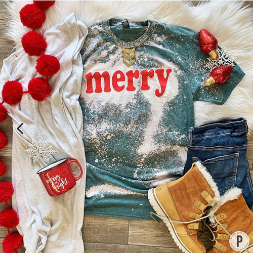 Merry Bleached Tee