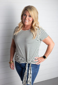 Candace Striped Side Tie Top